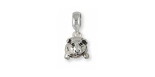 Guinea Pig Jewelry Sterling Silver Guinea Pig Charm Slide Handmade Piggie Jewelry GP10-PNS