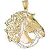 CleverEve 14K Yellow Gold Pendant Two Tone Horse 10.7 Grams