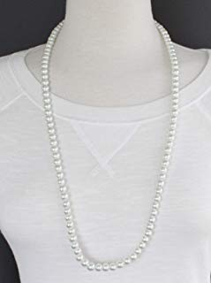 White faux pearl necklace 30 extra long beaded necklace bead beads classic