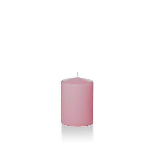 "Yummi 3"" x 4"" Light Rose Round Pillar Candles - 3 per pack"
