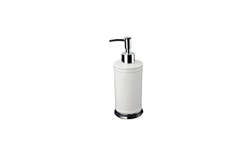 Ava - Style comes home White Lotion Pump/Soap Dispenser - Ceramic with Chrome Metal Base - Minar Collection - White Lotion Pump