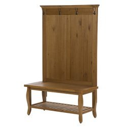 Antique Pine Color Hall Tree Entryway Furniture Traditional Style and Bottom Shelf For Storage by AVA Furniture