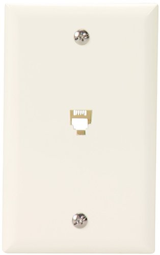 Eaton 3532-4LA Flush Mount Wallplate with Telephone Jack 4-Conductor, Light Almond