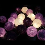 Purple Tone Mix Cotton Ball Patio Party String Lights (20/set)