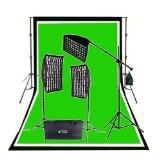 CowboyStudio 2000 Watt Photo Studio Lighting Grid Softbox Video Light Kit Boom Set, Heavy Duty Background Support, 10 feet x 20 feet Black White Chromakey Green 3 Muslin Backdrops