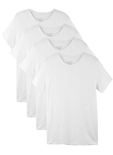 Bolter 4 Pack Men's Everyday Cotton Blend Short Sleeve T-Shirt (XXX-Large, 4PK White)