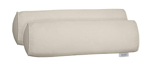 tdoor Set of 2 Corded Bolster Neckroll Pillows Made from Performance Cloud Velvet Fabric- Choose Size (20