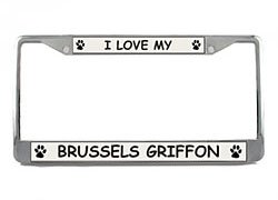 Brussels Griffon License Plate Frame (Chrome) 5 Year Warranty