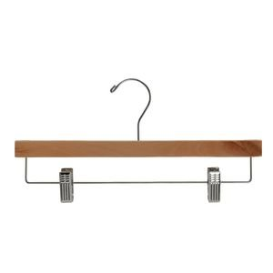 NAHANCO 6214RCCH 14'' Wooden Pant Skirt Hanger with Chrome Hook and Clips, Natural (Pack of 100) by NAHANCO