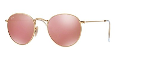 Ray Ban RB3447 ROUND METAL 112/Z2 50M Matte Gold/Brown Mirror Pink Sunglasses For Men For Women