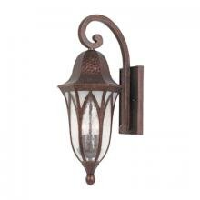 Designers Fountain-Three Light Burnished Antique Copper Clear & Frosted Seedy Glass Wall