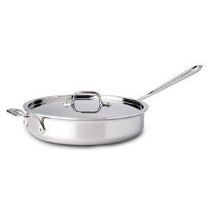 - All-Clad 4403 Stainless Steel Tri-Ply Bonded Dishwasher Safe 3-Quart Saute Pan with Lid, Silver