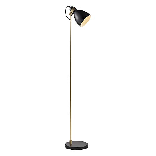 (Versanora VN-L00060 Quincy Floor Lamp Marble Base-Black/Antique Brass )