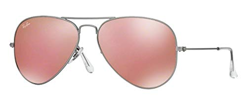 Ray-Ban RB3025 (019/Z2) Matte Silver/Brown Mirror Pink 58mm, Sunglasses Bundle with original case, cloth, booklet and accessories (6 - Lens Brown Max Polarized