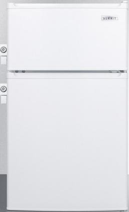 Summit CP351WLL 20'' Top Freezer Compact Refrigerator with 2.9 cu. ft. Capacity Energy Star 2 Side Mounted Locks Door Storage and Adjustable Thermostat in by Summit