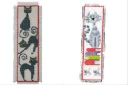 2 Item Cross Stitch Bookmark Kit Bundle : Cat on Books and Black Cat (Cat Black Stitch Cross)