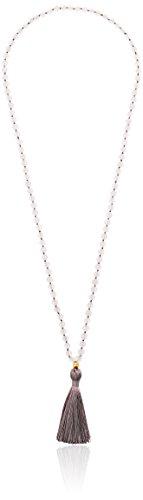 Satya Jewelry Classics Matte Rose Quartz Gold Plate Lotus Tassel Mala Strand Necklace, 32
