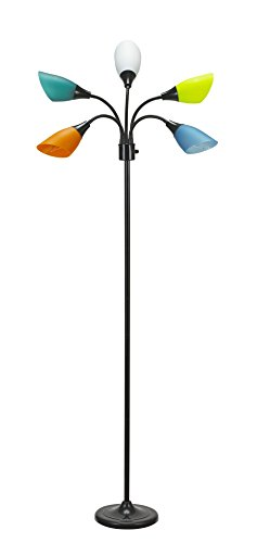 Catalina Lighting Medusa 5 Floor Lamp with Adjustable, Black Base with Colored Shades, 20744-000 (Lamp Colored)