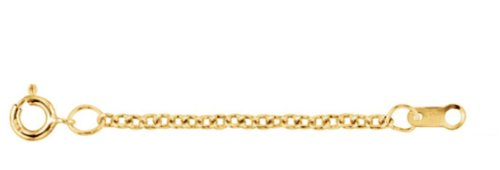 1.5mm 14k Yellow Gold Solid Cable Necklace Extender or Safety Chain, 3