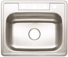 Premier 3562895 4-Hole Single Bowl Sink, 22-Gauge, Stainless Steel, 25'' X 22'' X 7'', 19.877'' x 19.877'' x 19.877''