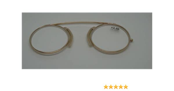 Modern Pince Nez Reading glasses /Spectacles Gold colour +3.50 with pouch by Comsafe Vision