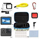 Kitspeed Accessories Kit for GoPro Hero 7/(2018)/6/5, Including Waterproof case,Red Filter,Tempered Glass Film,Waterproof Camera Float,Anti-Fog Inserts, Shockproof Storage Bag