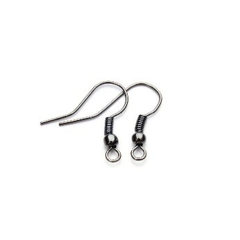 R2K 20pcs. Gun Black Plated Color Iron Earring Hooks, Earring DIY Components