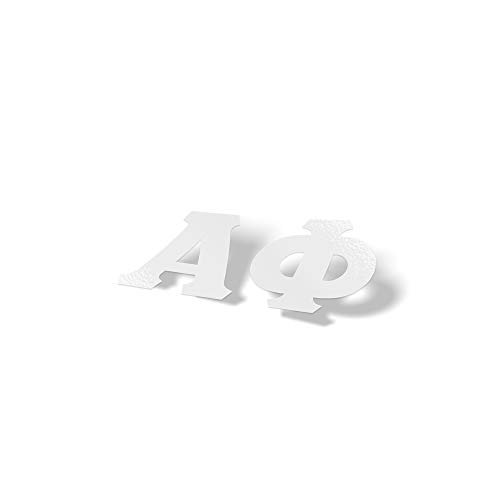 Alpha Phi White Letter Sticker Decal Greek 2 Inches Tall for Window Laptop Computer Car A Phi (Merchandise Alpha)