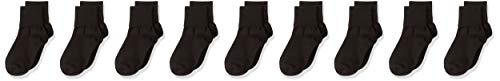 Amazon Essentials Girls' 9-Pack Cotton Uniform Turn Cuff Sock, Black, 5 8 1/2 ()