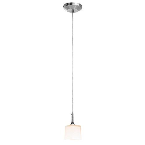 Access Lighting 96918-120V-5-BS/OPL Omega  One Light Hermes Square Glass Flat LV Canopy Pendant with Opal Glass Shade, Brushed Steel Finish ()