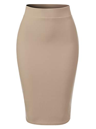 Khaki Pencil Skirt - MixMatchy Women's Casual Classic Bodycon Pencil Skirt Khaki 2XL