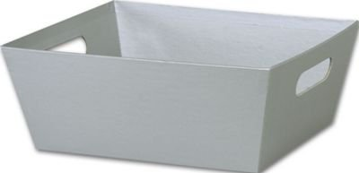 Solid Color Specialty & Event Boxes - Silver Market Trays, 12 x 9 1/2 x 4 1/2