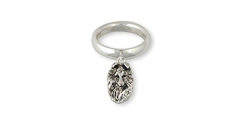 Collie Jewelry Sterling Silver Collie Ring Handmade Dog Jewelry COL4-CR