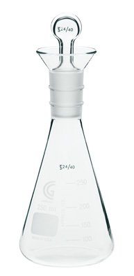 Chemglass CG-1552-05 Series CG-1552 Erlenmeyer Flask with Iodine Stopper, 250 mL