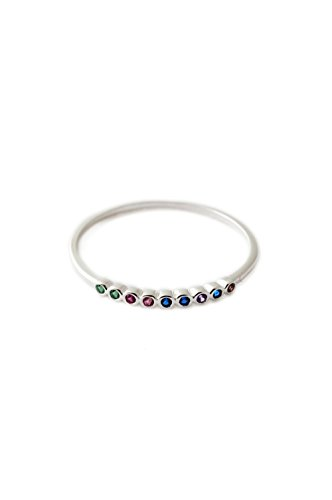 - HONEYCAT Rainbow Tiny Crystal Bezel Ring in Sterling Silver Plate | Minimalist, Delicate Jewelry