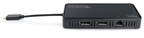 Plugable USB-C Dual 4K DisplayPort Adapter with Gigabit Ethernet for Windows (Supports Two DisplayPort Displays up to 3840x2160@60Hz, Thunderbolt 3 Port Compatible, Windows 10, 8.1 & 7) by Plugable