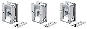 Richelieu Hardware 1701CPSBC Pocket Door Pull with Privacy Lock - Rectangular Chrome (3-(Pack))