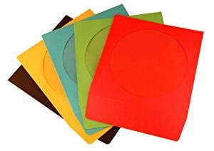 Paper CD Sleeves with Window & Flap, Assorted Colors(1000 - Window Color Paper Cd Sleeve