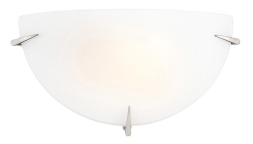 Access Lighting Zenon Wall Sconce - Brushed Steel Finish with Opal Glass Shade