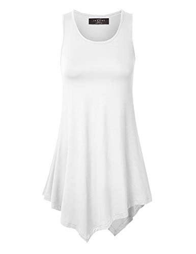 Made By Johnny WT671 Womens Handkerchief Hem Tank Tunic Top M White