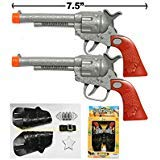 2 (TWO) COWBOY GUN TOY PISTOL REVOLVER WILD WEST PLAY SET BADGE BELT HOLSTER SILVER]()