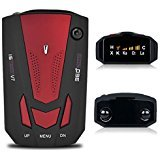 Radar Detector, Petcaree High Performance V7 Police Radar Laser Detectors for Cars with Voice Alert and Car Speed Alarm System with 360 Degree Detection (Red)