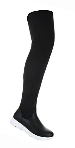 Damen Schuhe Overknee Stiefel Sportliche Schwarz Schwarz