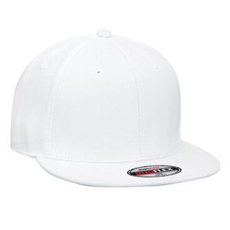 OTTO Wholesale 12 x Flex Wool Blend Square Flat Visor 6 Panel Pro Style Baseball Cap - White - (12 Pcs)