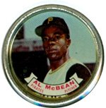 1964 Topps Metal Coins (Baseball) Card# 66 Al McBean of the Pittsburgh Pirates Ex Condition