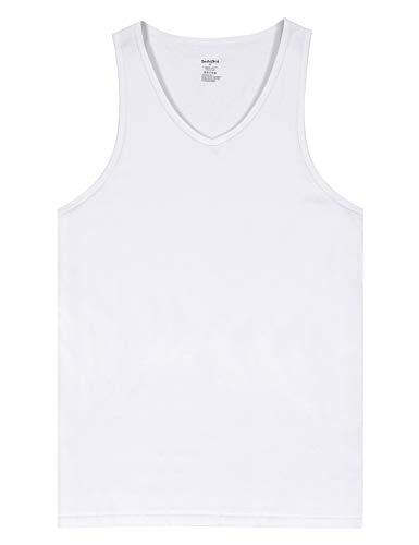 Indefini Men's Cotton Sleeveless Undershirts V-Neck Tank Tops Fitted A-Shirts, 1 Pack of White - XL