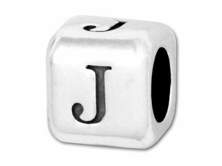 (Sterling Silver Alphabet Rounded Edge Bead Letter