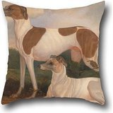 Throw Pillow Case Of Oil Painting Charles Hancock - Two Greyhounds In A Landscape 20 X 20 Inch / 50 By 50 Cm,best Fit For Teens Boys,office,christmas,father,home,divan Both Sides