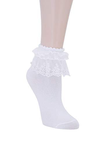 SRYL Women Girls Lace Ruffle Frilly Ankle Socks Fashion Ladies Girl Princess, (1 pairs)