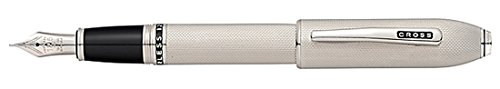 Cross Peerless 125 Platinum Plate Fountain Pen with Fine Rhodium Plated Solid 18KT Gold Nib
